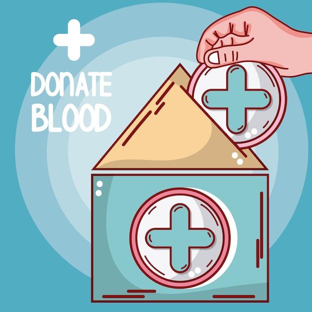 Faire un don de tente et de main médicales de sang Vecteur Premium