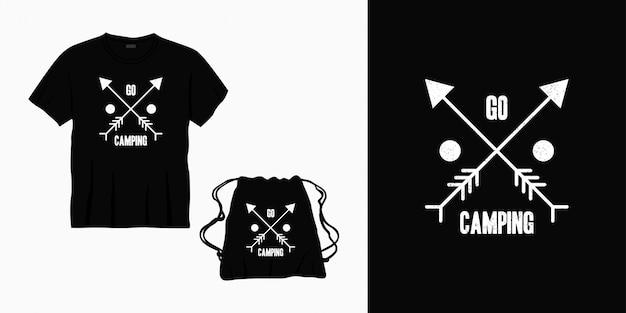 Faire Du Camping Lettrage Typographie Design Pour T-shirt, Sac Ou Marchandise Vecteur Premium