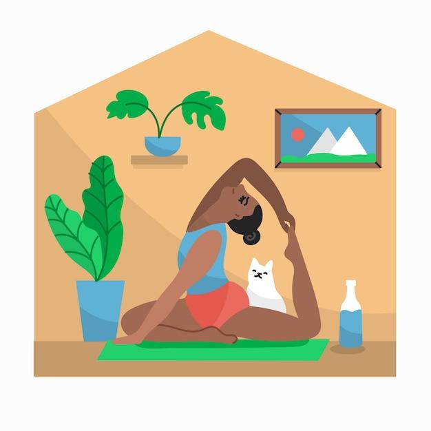 Faire Du Yoga Avec Le Chat à L'intérieur Du Concept De Quarantaine Vecteur gratuit