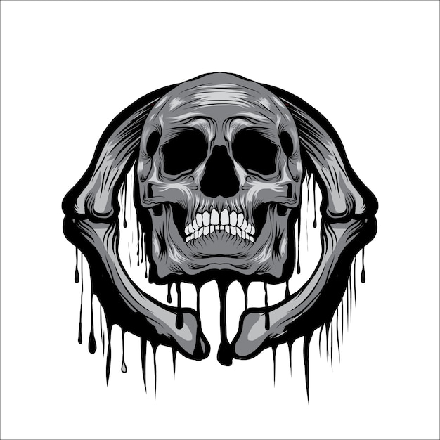 Faire fondre l'illustration vectorielle tête de crâne Vecteur Premium