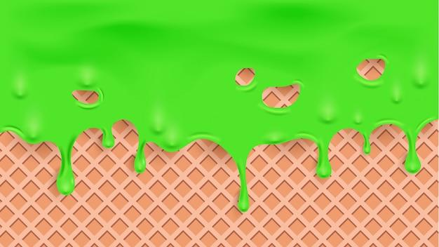 Faire Fondre Le Liquide Vert Sur La Texture De La Gaufre Vecteur Premium