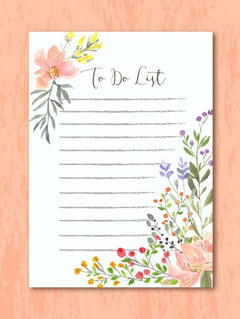 Faire la liste avec aquarelle florale Vecteur Premium