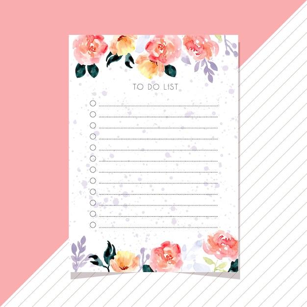 Faire la liste avec beau cadre de fleur aquarelle Vecteur Premium