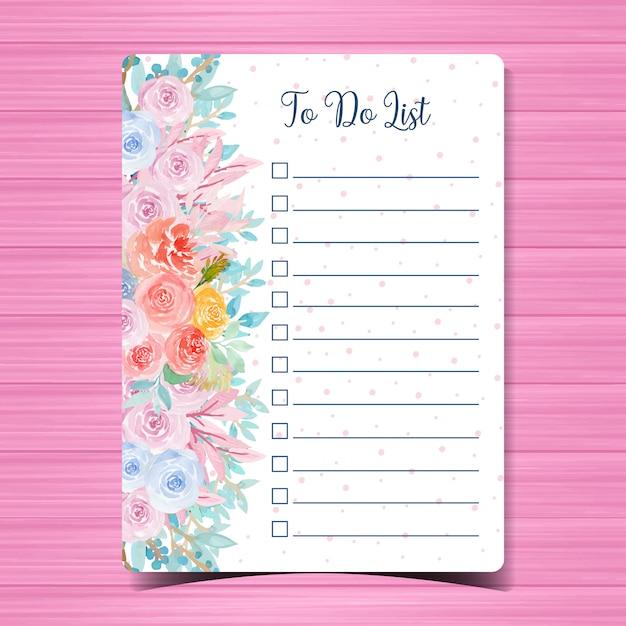 Faire La Liste Bloc-notes Avec Aquarelle Florale Magnifique Vecteur Premium