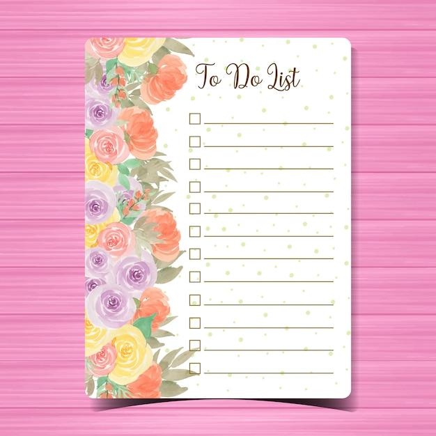 Faire la page de liste avec le fond coloré de fleur Vecteur Premium