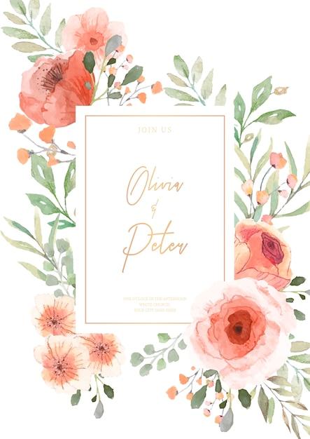 Faire-part de mariage avec fleurs aquarelles prêtes à imprimer Vecteur gratuit