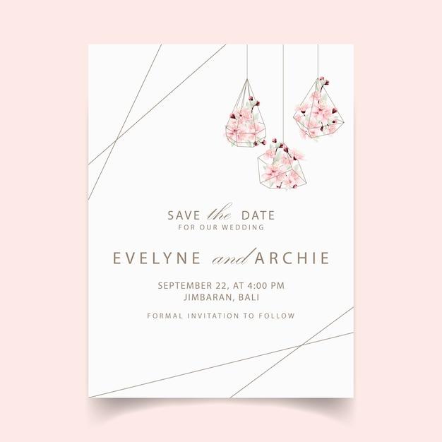 Faire-part de mariage avec des fleurs de cerisier Vecteur Premium