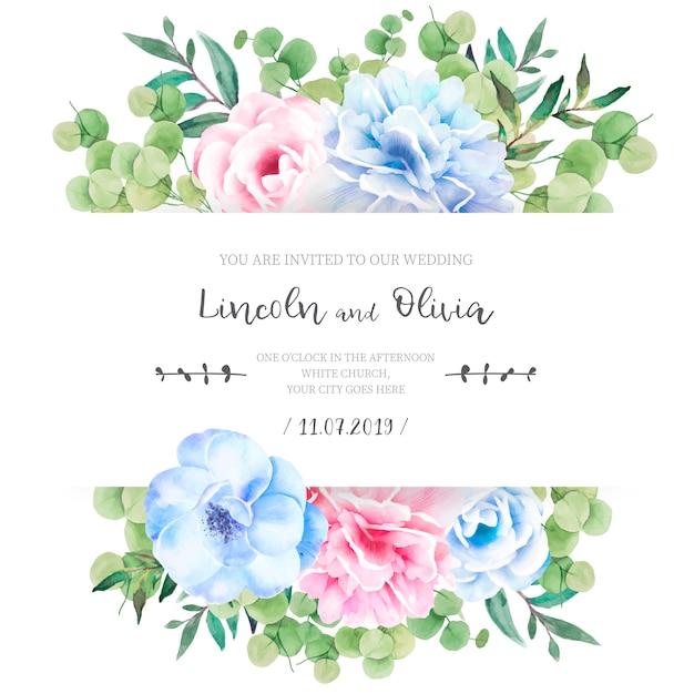 Faire-part de mariage floral avec de jolies fleurs Vecteur gratuit