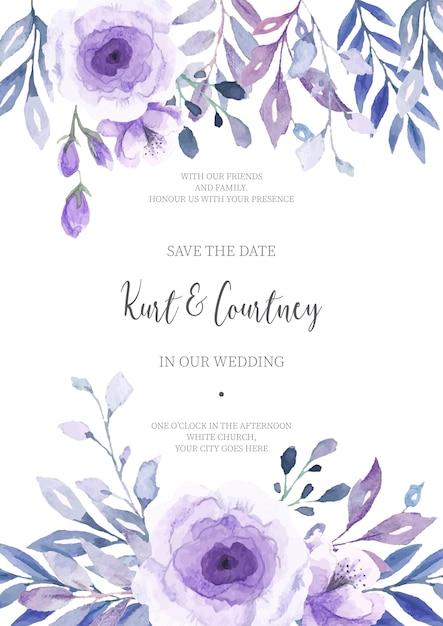 Faire-part de mariage floral prêt à imprimer Vecteur gratuit