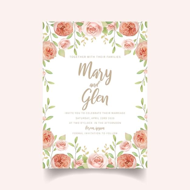 Faire-part de mariage floral avec des roses de jardin florales Vecteur Premium