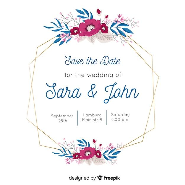 Faire-part de mariage avec joli cadre floral Vecteur gratuit