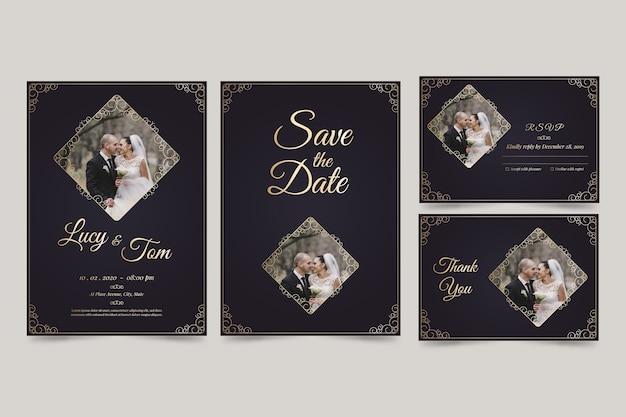 Faire-part de mariage minimaliste réservez la date Vecteur gratuit