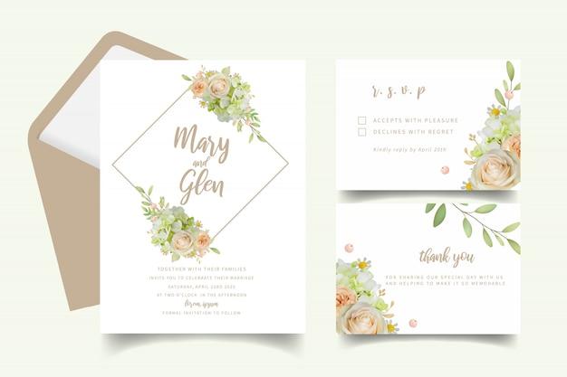 Faire-part de mariage avec roses et hortensias Vecteur Premium
