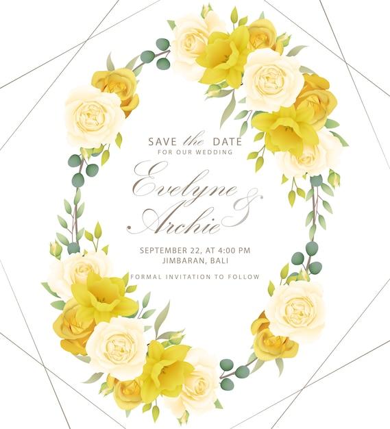 Faire-part De Mariage Roses Et Jonquilles Vecteur Premium