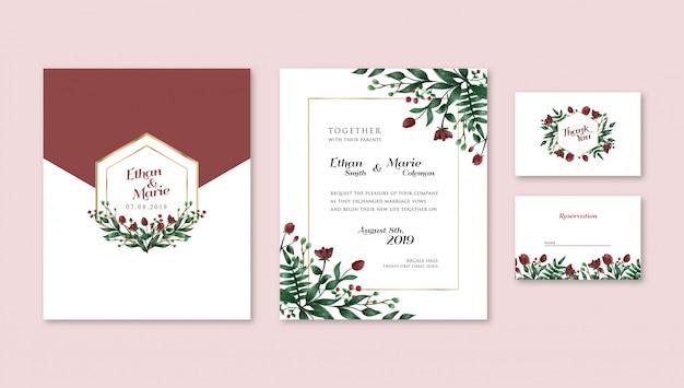 Faire-part De Mariage De Tulipes Rouges D'aquarelle Vecteur Premium
