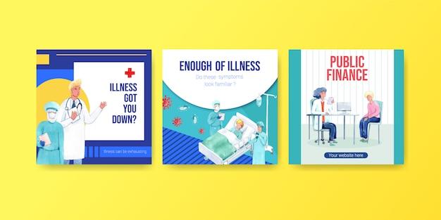 Faire De La Publicité Ou Concevoir Une Brochure Contenant Des Informations Sur La Maladie Et Les Soins De Santé Vecteur gratuit