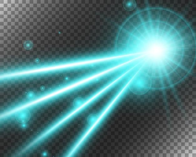 Faisceau Laser Abstrait. Transparent Sur Fond Noir. Illustration. Vecteur Premium