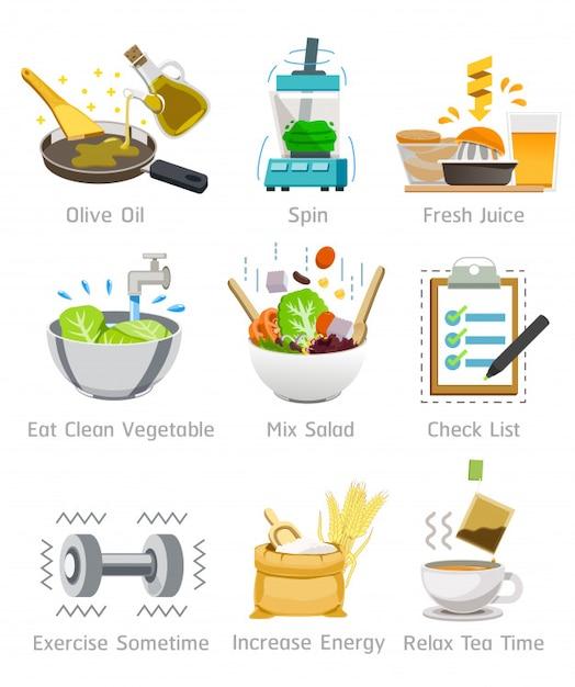 Faites attention à la santé en choisissant de la bonne nourriture Vecteur Premium