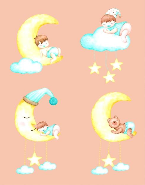 Faites De Beaux Rêves Bébé Avec Aquarelle Dessinée à La Main Pour La Crèche Et Les Enfants Vecteur Premium
