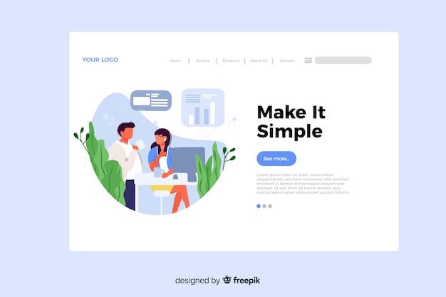 Faites-en un concept simple pour la page de destination Vecteur gratuit