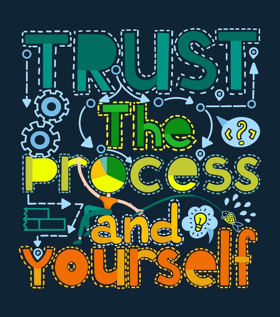 Faites confiance au processus et à votre illustration de motivation. Vecteur Premium