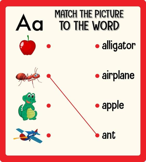 Faites Correspondre L'image à La Feuille De Calcul De Mots Pour Les Enfants Vecteur gratuit