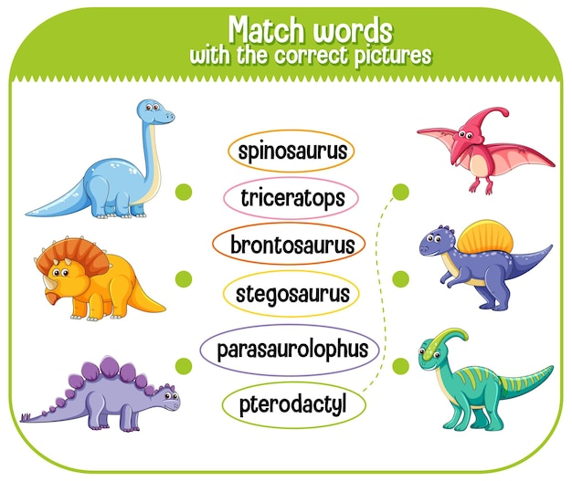 Faites Correspondre Les Mots Avec Les Images Correctes De Dinosaure Vecteur gratuit