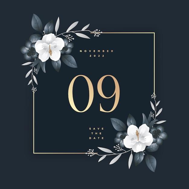 Faites gagner la date élégante invitation de mariage Vecteur Premium