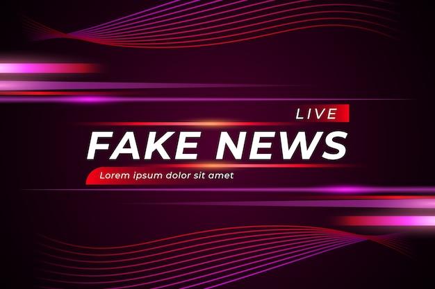 Fake News En Direct Sur Fond Violet Sinueux Vecteur Premium