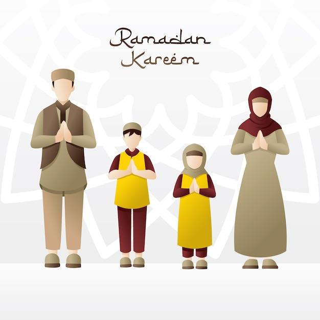Famille accueillant le mois de ramadan Vecteur Premium