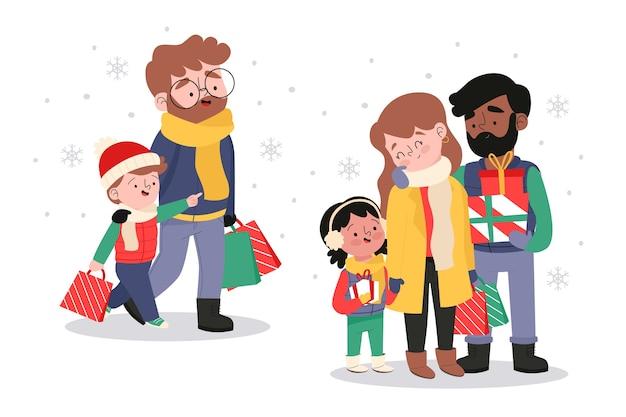 Famille achetant des cadeaux de noël Vecteur gratuit
