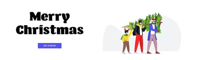Famille Afro-américaine Portant Arbre De Noël Parents Avec Enfant Portant Des Masques Pour Prévenir La Pandémie De Coronavirus Nouvel An Vacances Célébration Concept Bannière Horizontale Vecteur Premium