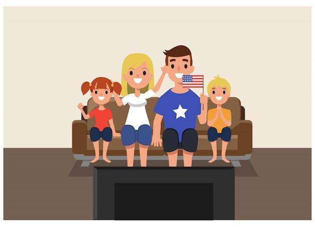 Famille américaine acclamant la police de la télévision à la maison. Vecteur Premium