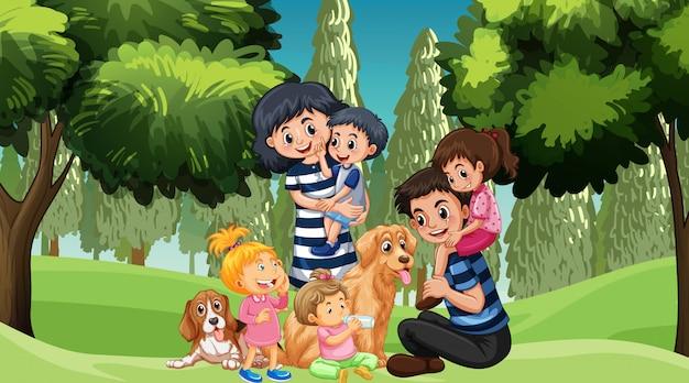 Famille Avec Animaux Dans Le Parc Vecteur gratuit