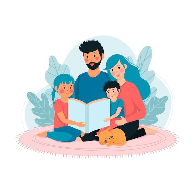 Famille, Apprécier, Temps, Ensemble Vecteur gratuit