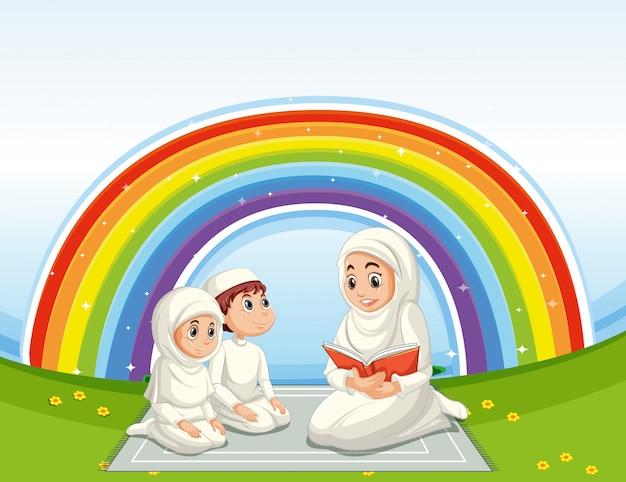 Famille Arabe En Costume Traditionnel Avec Fond Arc-en-ciel Vecteur Premium