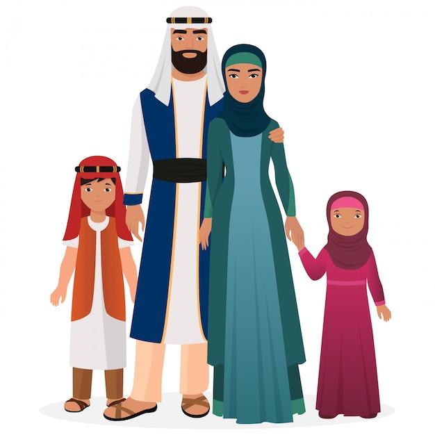 Famille arabe avec des enfants en costume national traditionnel Vecteur Premium
