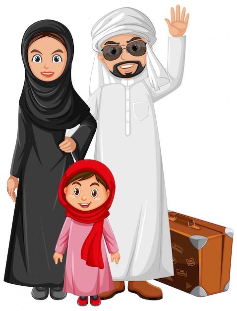 Famille Arabe Portant Un Personnage De Costume Arabe Vecteur gratuit