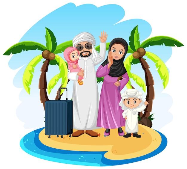 Famille Arabe En Vacances Vecteur gratuit