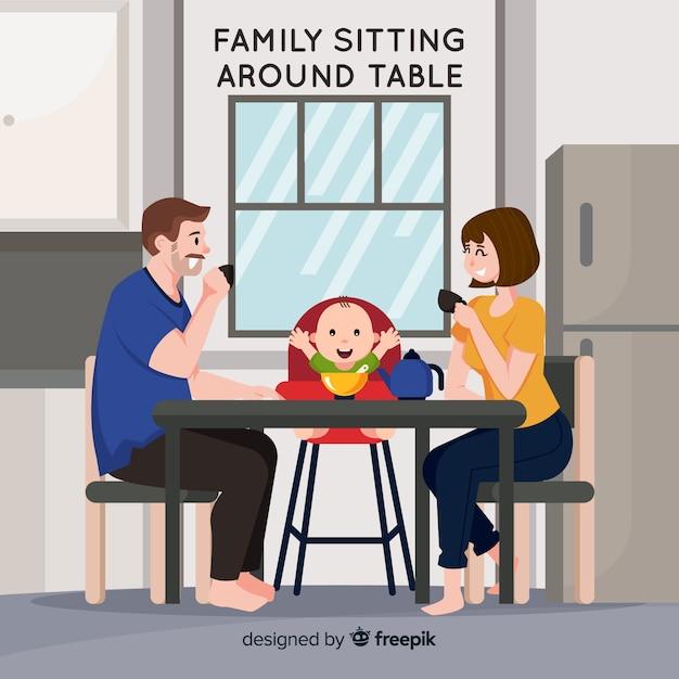 Famille assis autour de la table Vecteur gratuit