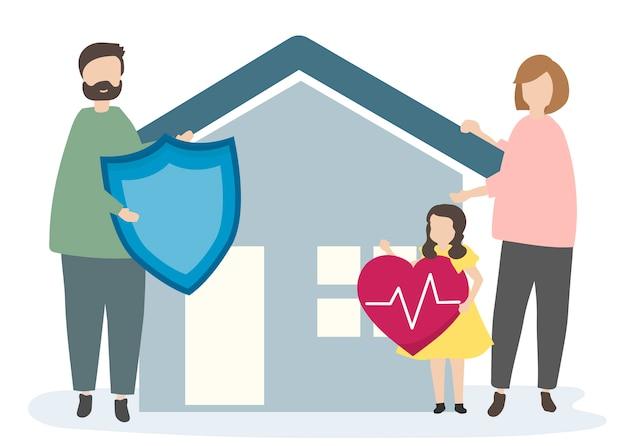 Famille avec assurance habitation et sécurité Vecteur gratuit