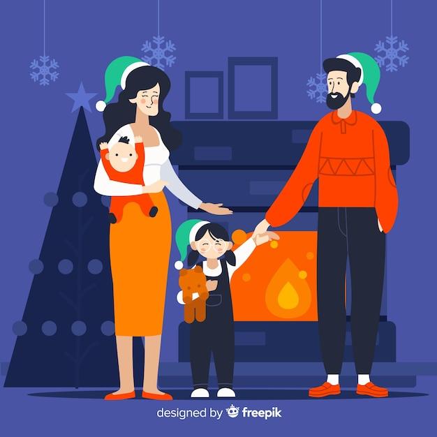 Famille au coin du feu illustration de noël Vecteur gratuit