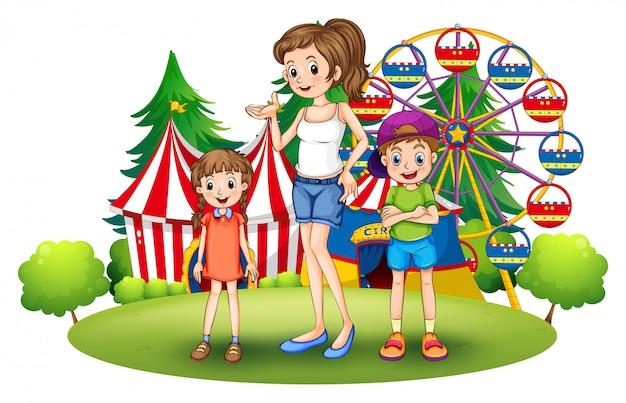 Une famille au parc d'attractions avec une grande roue Vecteur gratuit