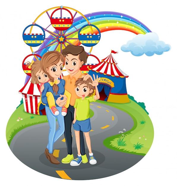 Une famille au parc Vecteur gratuit