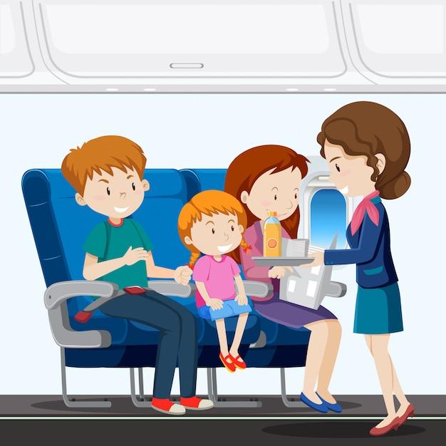 Une famille en avion Vecteur Premium