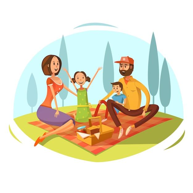 Famille ayant pique-nique sur le concept d'herbe avec illustration vectorielle de pain et confiture de dessin animé Vecteur gratuit