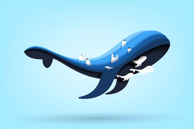 Famille de baleines bleues et océan avec déchets et ordures sur la mer. Vecteur Premium