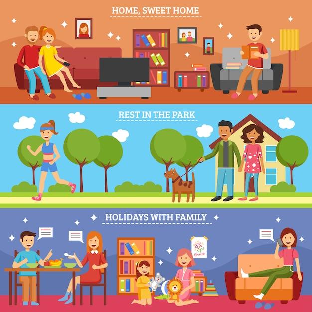 Famille bannière ensemble Vecteur gratuit