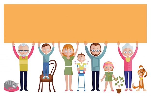 Famille Avec Bannière Vecteur gratuit