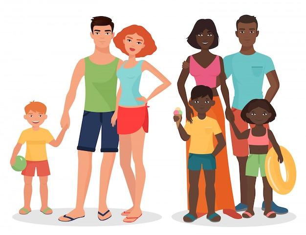 Famille Blanche Africaine Et Noire De Style été Vecteur Premium